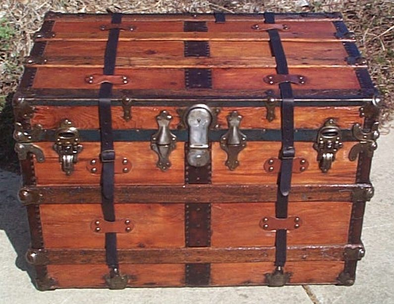All Wood Large Size Flat Top Antique Steamer Trunk #368