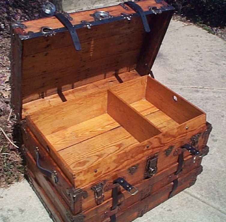 All Wood Large Size Flat Top Antique Steamer Trunk #369