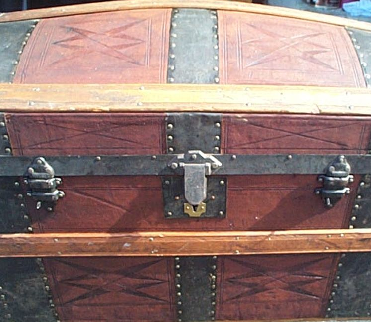 All Leather Large Size Dome Top Antique Steamer Trunk #370