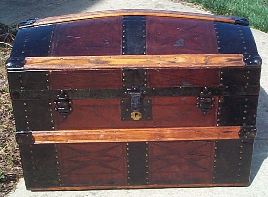 All Wood Large Size Dome Top Antique Steamer Trunk #370