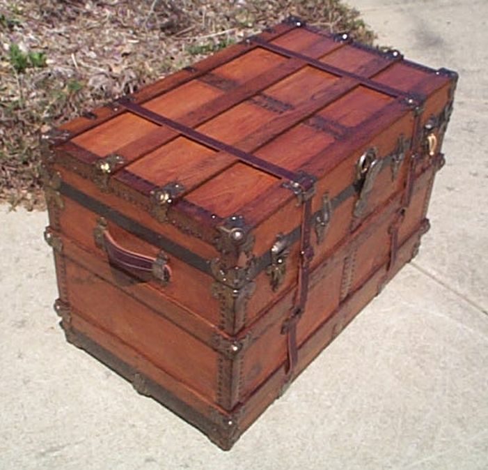 Front - All Wood Large Size Flat Top Antique Steamer Trunk #371
