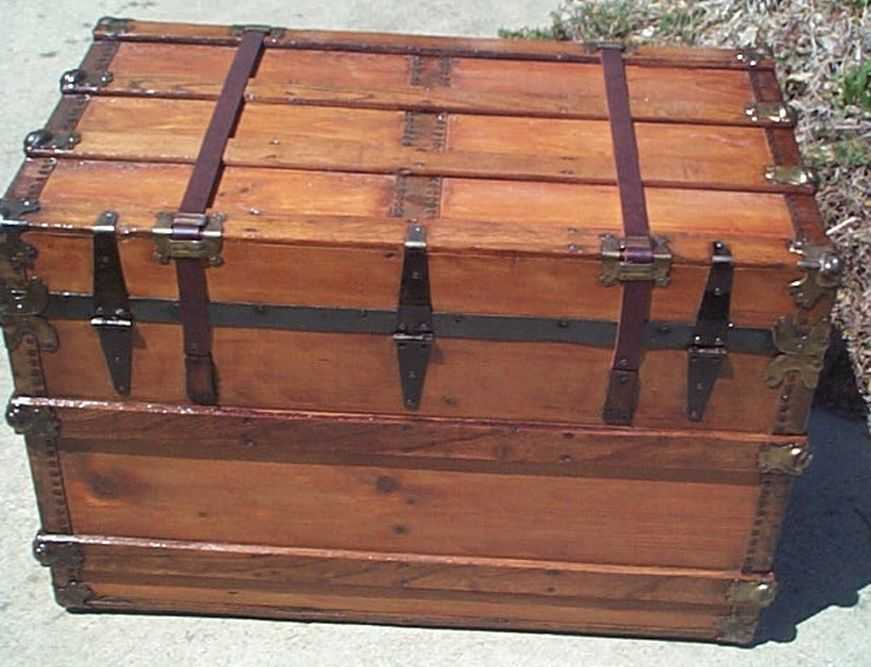 All Wood Large Size Flat Top Antique Steamer Trunk #371