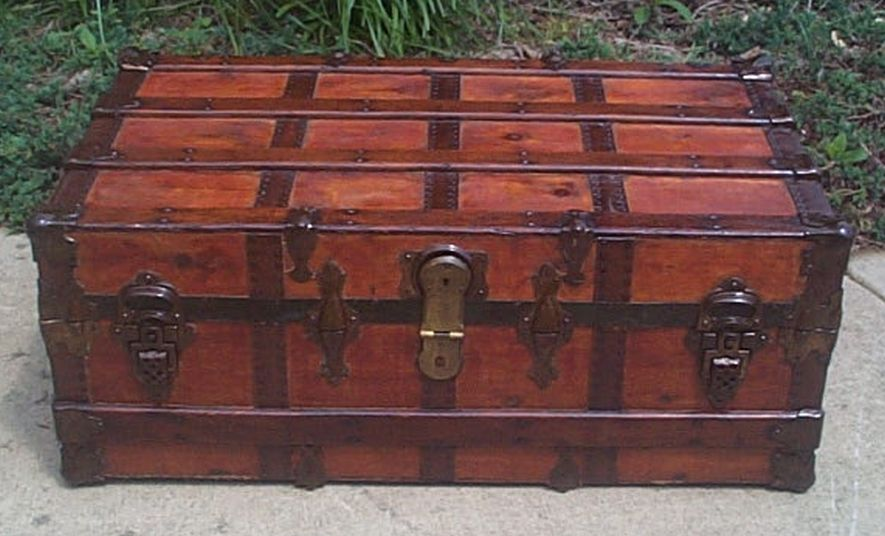 All Wood Large Size Flat Top Antique Trunk #384