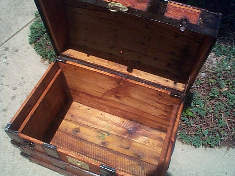 Dome Top Restored Antique Trunk For Sale #386