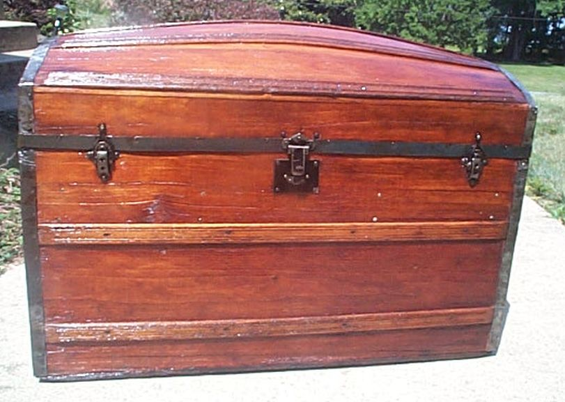 Restored antique trunk expert photographic history and for 100 year old oak table