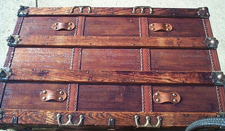 Navy Shadow box Idea For Antique Flat Top Trunk #410