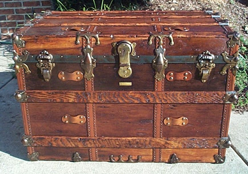 Front - Navy Shadow box Idea For Antique Flat Top Trunk #410