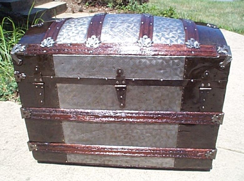 Navy Shadow box Idea For Antique Dome Top Trunk 412