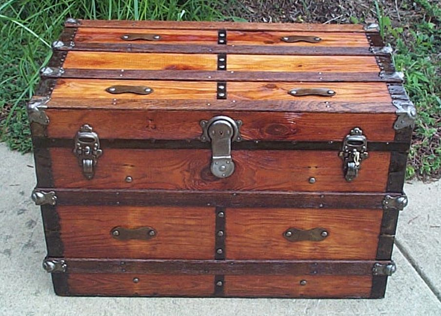 flat top metal wood antique trunk 413
