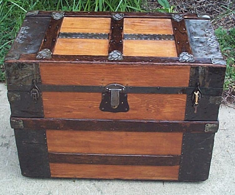 civil war flat top metal wood antique trunk 415