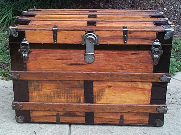 Front - Antique Flat Top Steamer Trunk 417