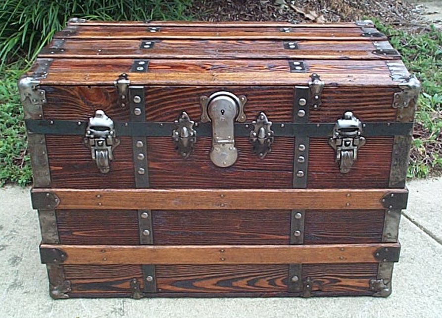 420 All Wood Flat Top Antique Trunk