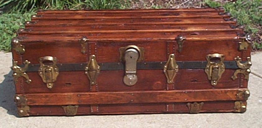 low profile flat top all wood antique trunk 424