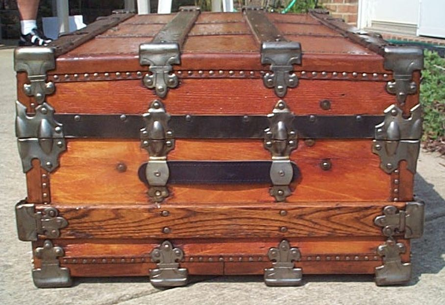 Large low profile flat top all wood antique steamer trunk 425
