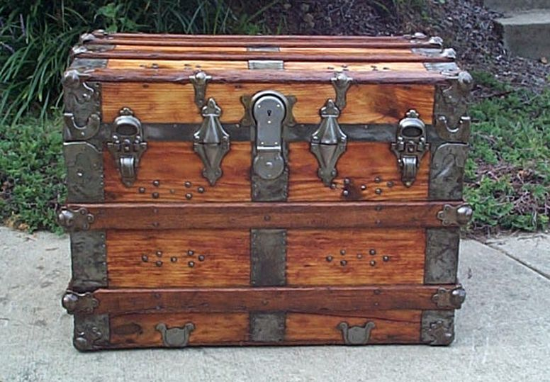 roll top all wood antique trunk 426 - 426 Late 19th C Wood Roll Top Antique Trunk Available
