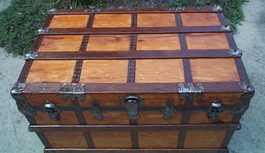 Navy Shadow box Idea For Antique Flat Top Trunk #428