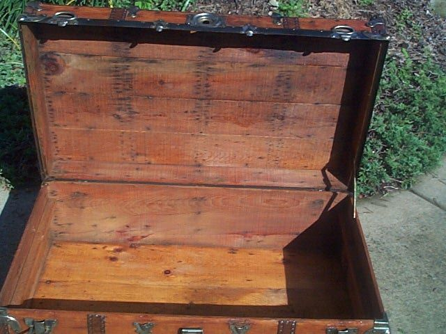 Navy Shadow box Idea For Antique Low Profile Flat Top Trunk #430