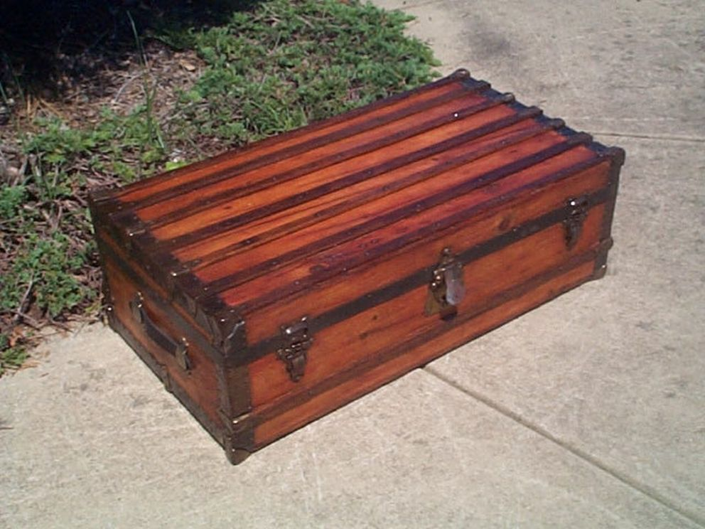 Navy Shadow box Idea For Antique Low Profile Flat Top Trunk #431