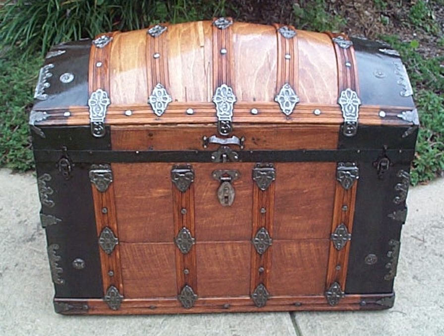 all wood restored antique dome top trunk for sale 435