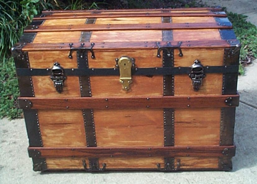 all wood restored antique roll top trunk for sale 436