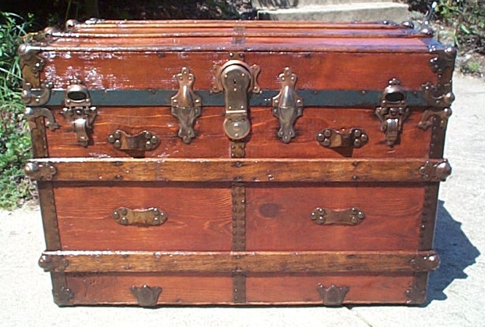 all wood restored antique roll top trunk for sale 438
