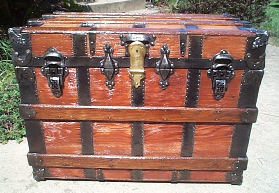 all wood restored antique flat top trunk for sale 439