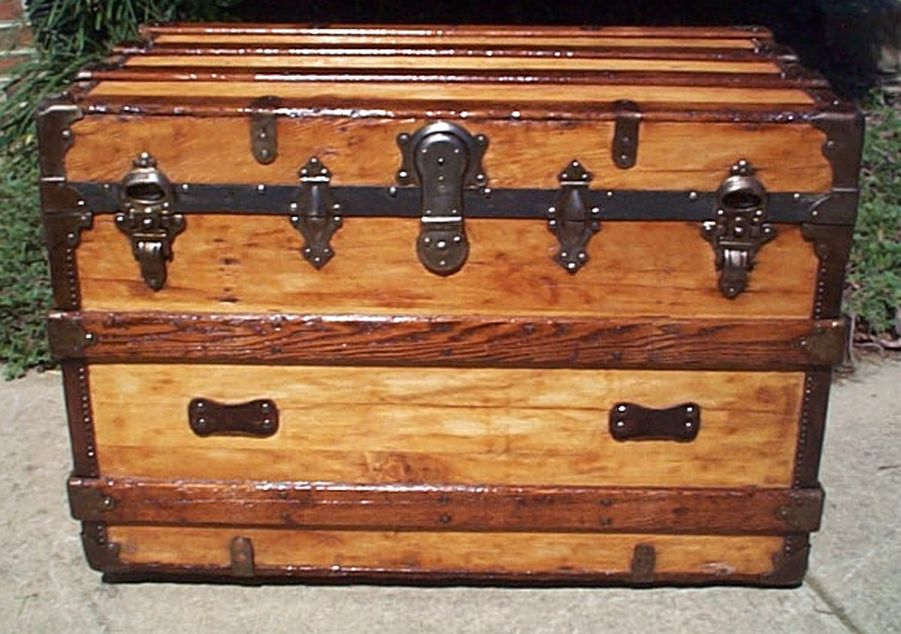 all wood restored antique flat top trunk for sale 440