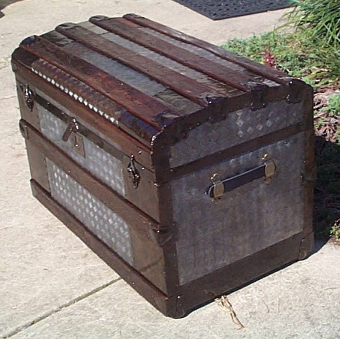 pressed tin restored antique barrel or roll top trunk for sale 441