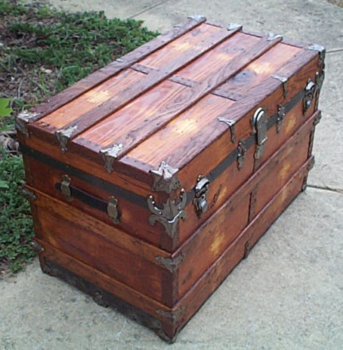 restored antique flat top trunk for sale 442
