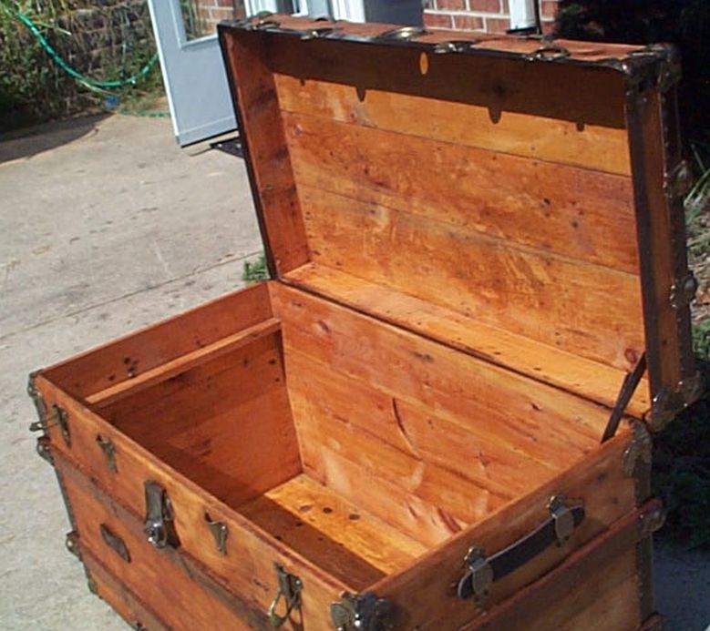 restored antique flat top trunk for sale 443
