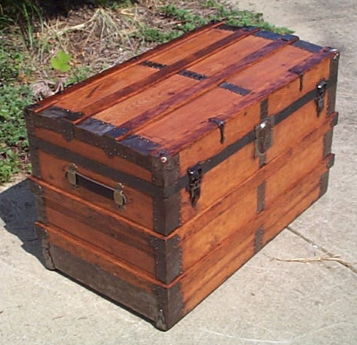 restored antique roll top trunk for sale 444