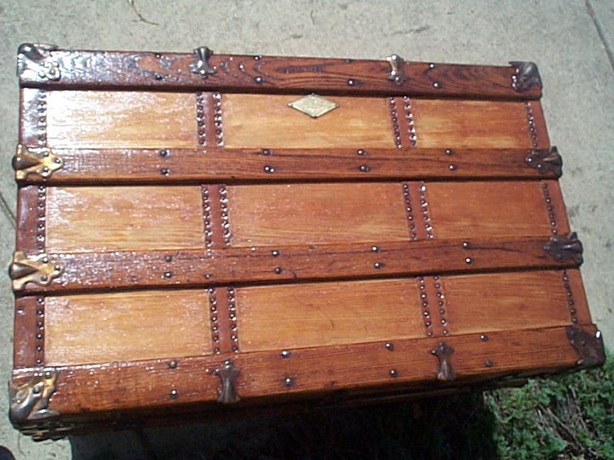 restored antique flat top trunk for sale 445