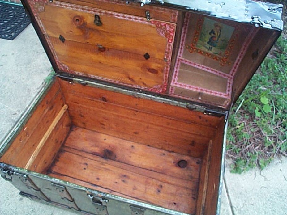 restored antique dome top trunk for sale 446