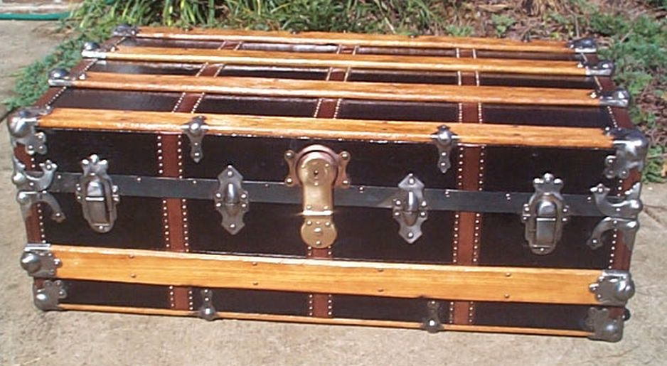 restored antique low profile flat top trunk for sale 449