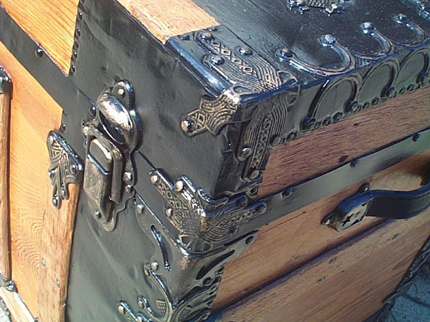 restored antique flat top trunk for sale 450