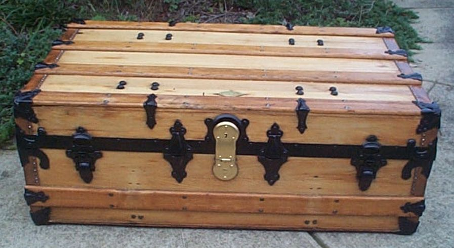 restored antique low profile flat top trunk for sale 454