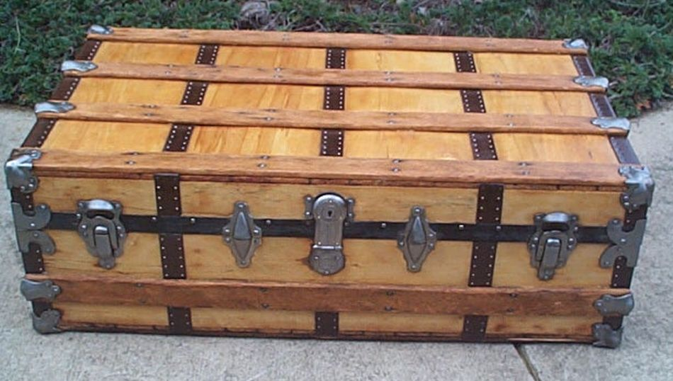 restored antique flat top trunk for sale 457