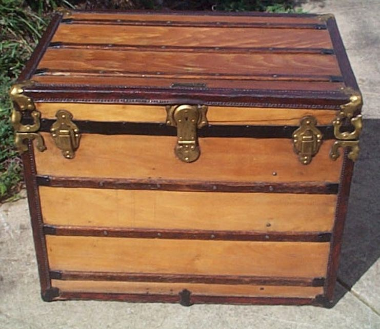 restored antique flat top trunk for sale 458