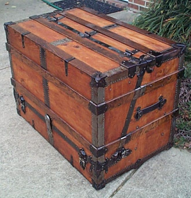 restored antique theatrical wall saver flat top trunk for sale 462