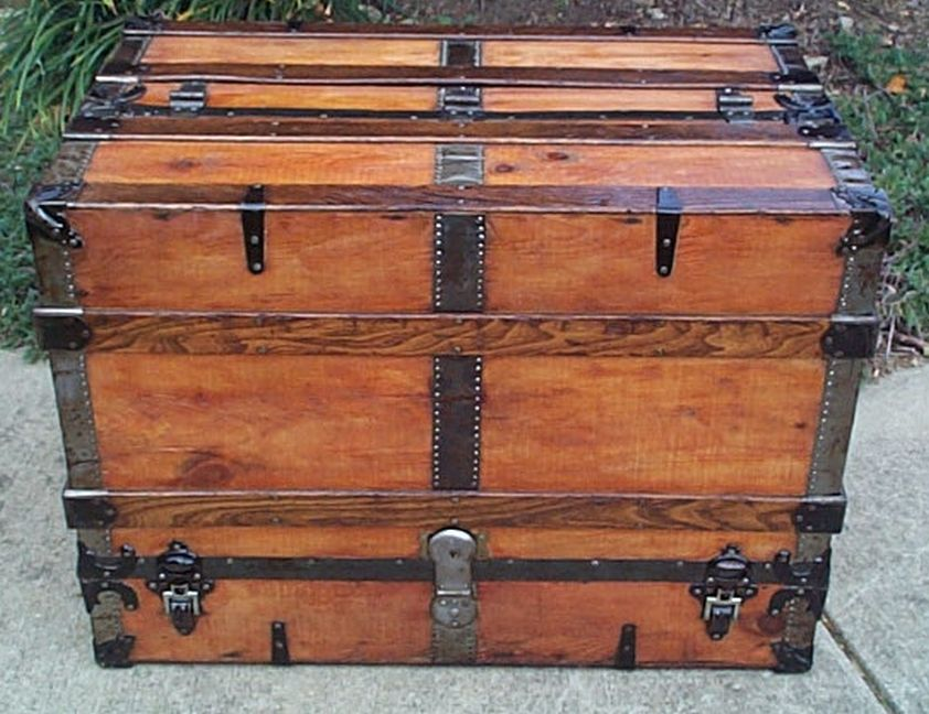 restored antique flat top wall saver theatrical trunk for sale 462