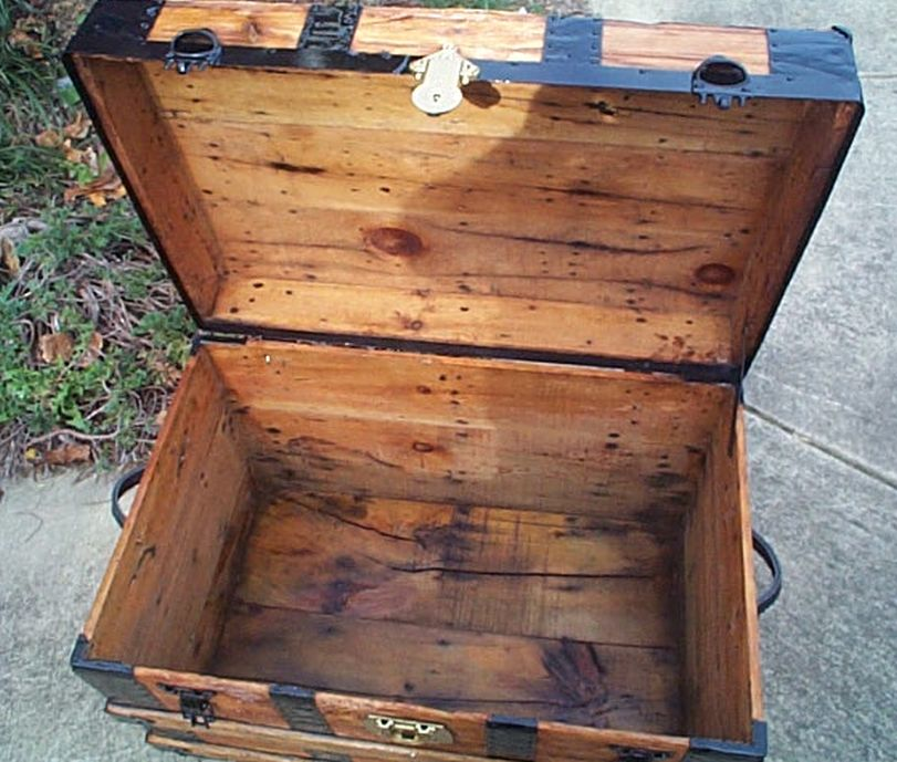 restored antique flat top trunk for sale 463