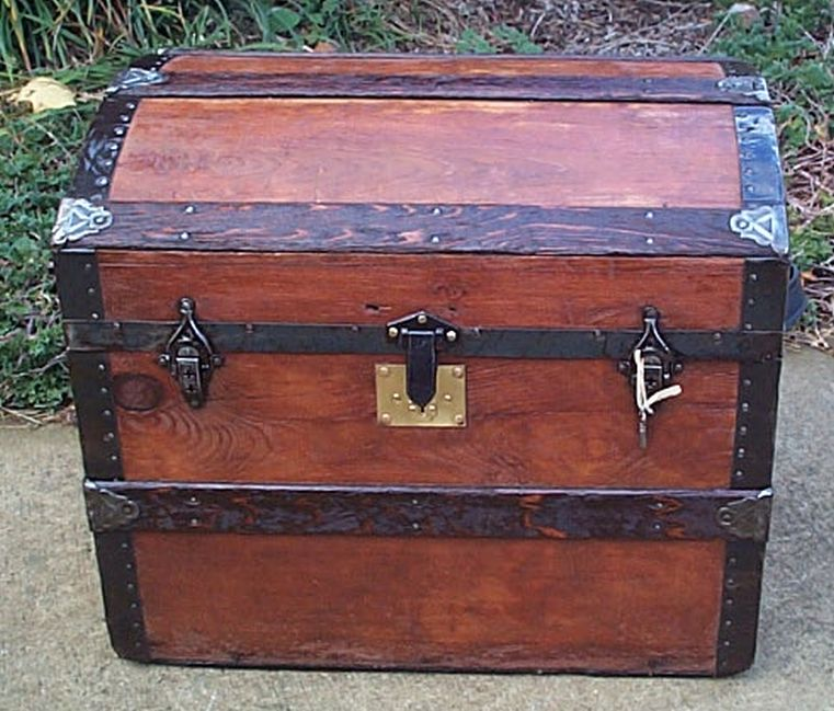 restored antique dome top trunk for sale 464
