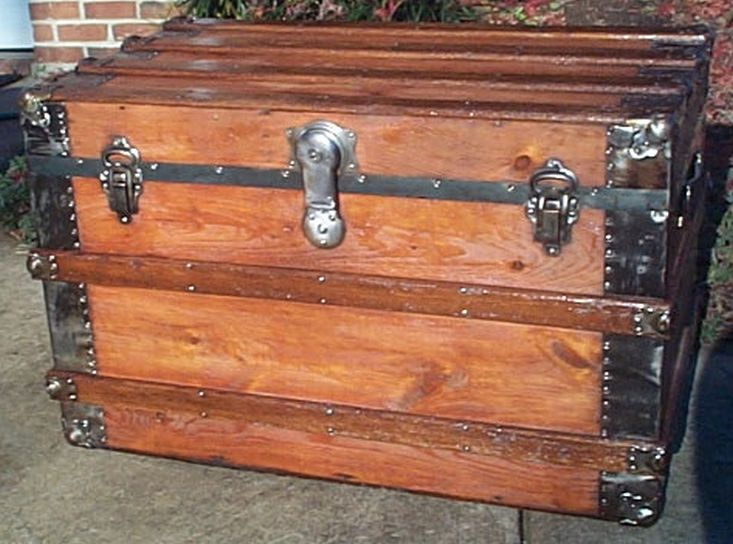 restored antique flat top trunk for sale 466