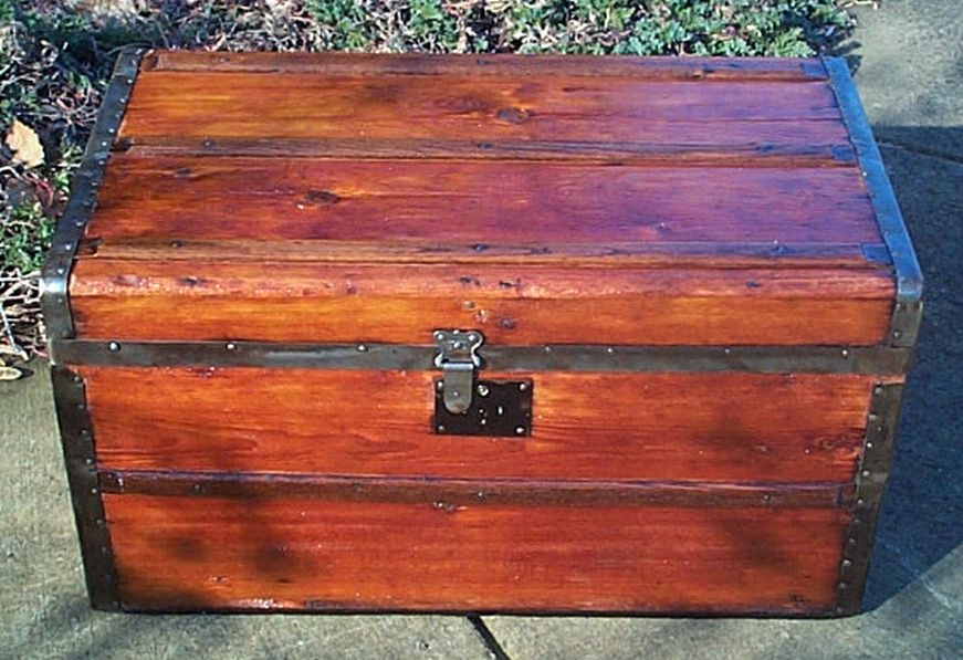restored antique flat top trunk for sale 468