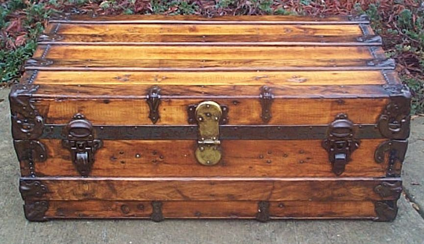 restored antique flat top trunk for sale 469