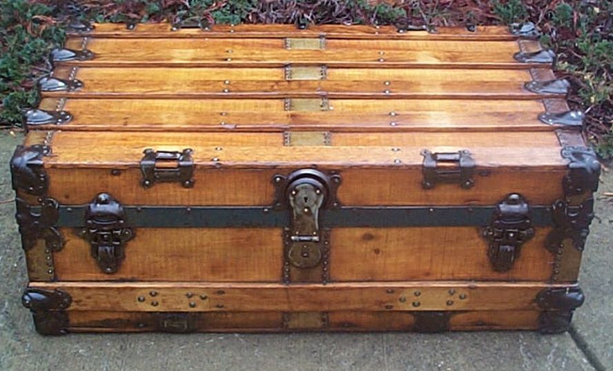 restored antique flat top trunk for sale 470