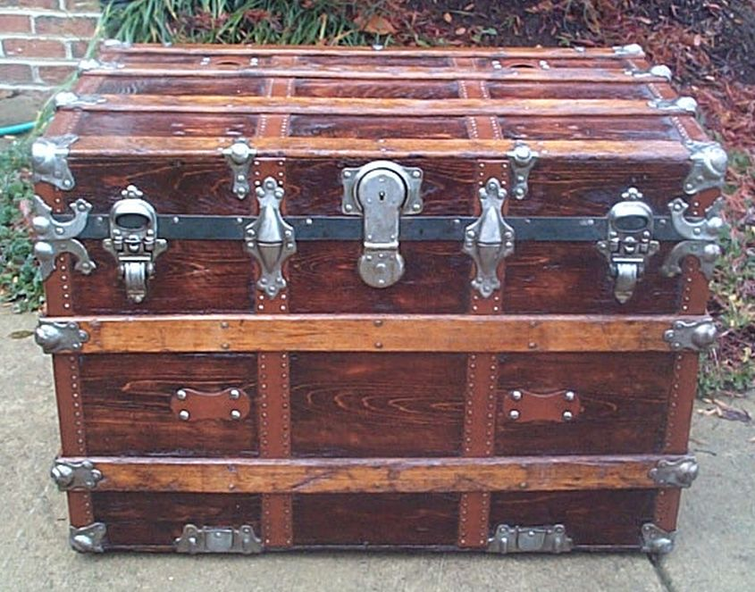 restored antique flat top trunk for sale 471