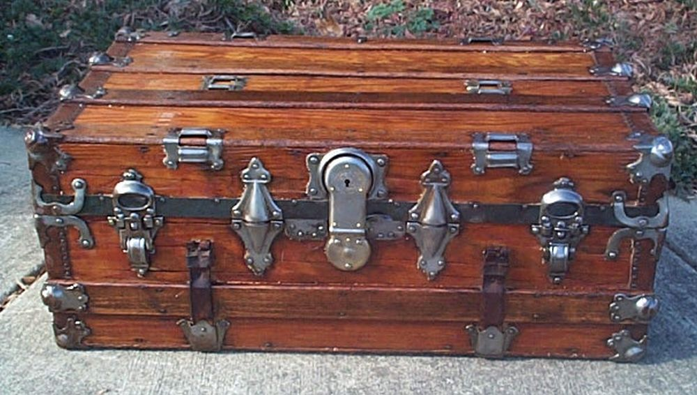 restored antique flat top trunk for sale 472