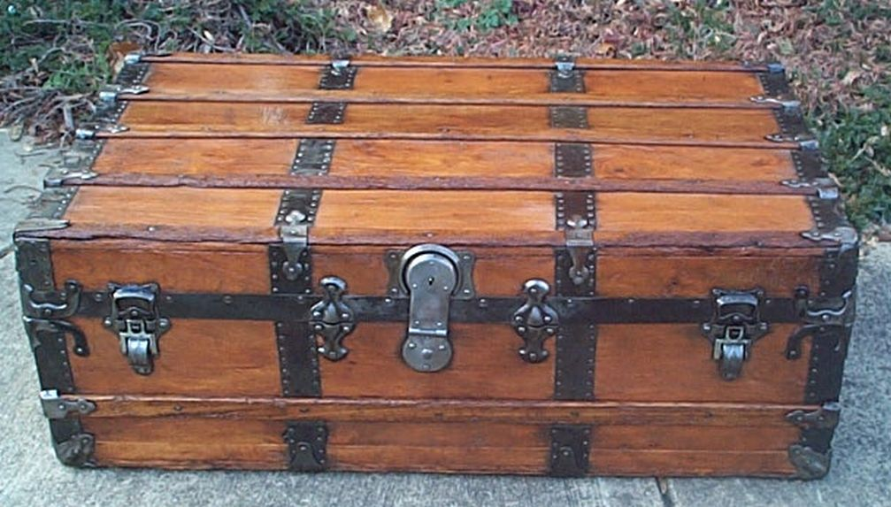 restored antique flat top trunk for sale 473