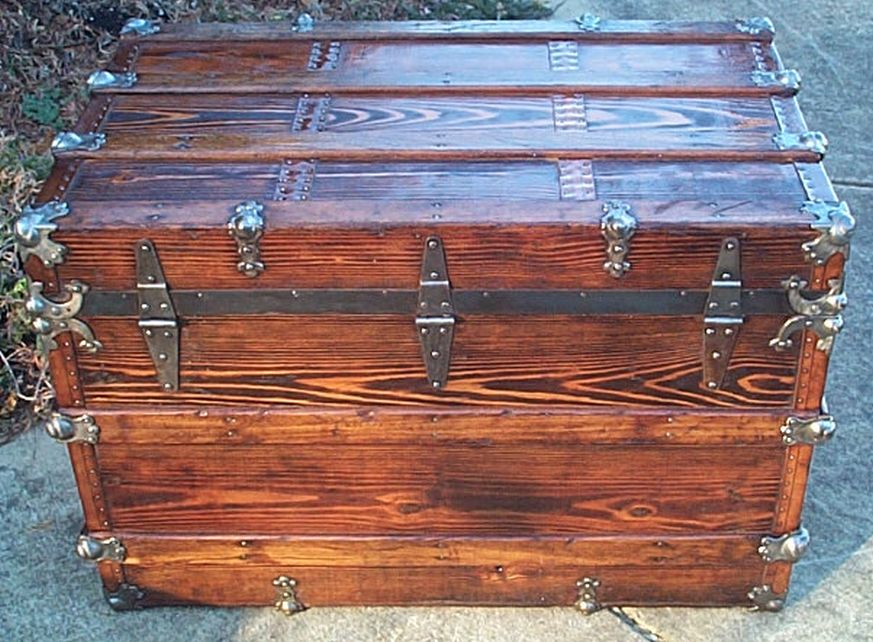 restored antique flat top trunk 474